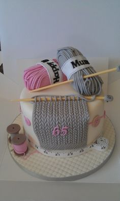 birthday cake for knitting lovers...could also change the needles and swatch for crocheters