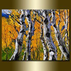 Original Autum Birch Landscape Painting Oil on by willsonart, $135.00