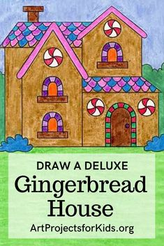 Learn how to draw a Gingerbread House with an easy step-by-step PDF tutorial. #gingerbreadhouse #tutorial Drawing Projects, Art Projects, Drawing Tips, How To Draw Steps, Learn To Draw, Win Lose Or Draw, 3rd Grade Art Lesson, Projects For Kids, Project Ideas