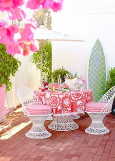 Get creative with your outdoor living space with bright colors