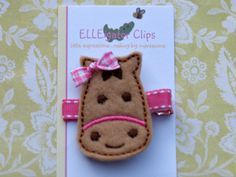NEW -Miss Pony- Tan and Pink Felt Horse Hair Clip - Girls Hair Clips / Felt Horse / Embroidered Hair Clips