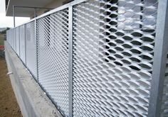 Fences and rails: expanded metal and metal fabric meet the need for protection, support, and privacy while also improving the aesthetic appearance. Fence Gate Design, Front Gate Design, House Front Design, Patio Railing, Stair Railing Design, Facade Design, Metal Facade, Metal Railings, Metal Fence