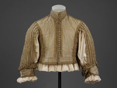 Doublet        Place of origin:        Great Britain, United Kingdom (made)      Italy (woven)      Date:        1650-1665 (made)      Artist/Maker:        Unknown (production)      Materials and Techniques:        Silver-gilt silk tissue, trimmed with silver-gilt bobbin lace, lined with silk taffeta and reinforced with linen, hand-sewn with silk and linen thread      Credit Line:        Purchased with the assistance of The Art Fund, the Friends of the V, and a number of private donors