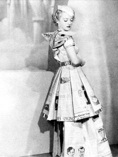 Bette Davis in 1930s publicity photo wearing a outfit made from newspapers