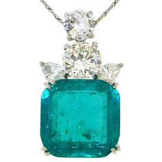 Cartier - CARTIER 17cts Colombian Emerald, Diamond & Platinum Pendant