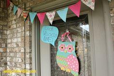 owl birthday front door decor