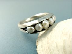 I really like it!  shoreline  fresh water pearl ring by sirenjewels on Etsy, $65.00