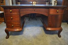 Mahogany Partner's Desk with Matching Chairs and Glass Top