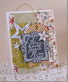 Holiday card by Maureen Plut using Christmas Joy, Every Heart and On Occasion from Verve.  #vervestamps