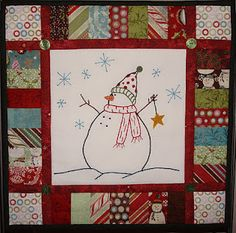 Embroidery and patchwork. Christmas Sewing, Christmas Embroidery, Christmas Ideas, Christmas Quilting, Christmas Fabric, Lap Quilts, Small Quilts, Mini Quilts, Quilt Blocks
