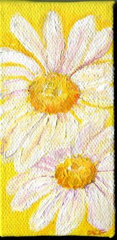 White Shasta Daisy Painting  on Yellow Original by SharonFosterArt, $18.00