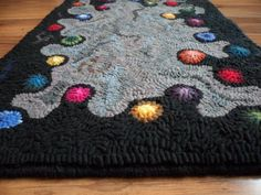 Happy Dots Primitive Hooked Rug by theoldloft on Etsy