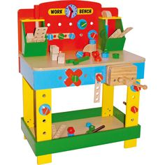 Wooden Toy Work Bench - Nice, colourful and gratifying to touch. Yes, we're talking about toys. These toys are extremely f Kids Tool Bench, Wooden Work Bench, Kids Workbench, Licht Box, Arte Country, Construction Tools, Bench Designs, Work Tools, Baby Kind
