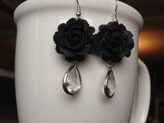 Black Rose and Crystal Glass Elegant Earrings by EliseJewelry1980,