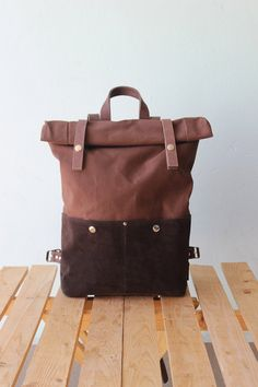 Backpack Rolltop Waxed Canvas with leather details by Phestyn