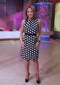 Katie kicks of March with this Akris black & white polka dot dress!