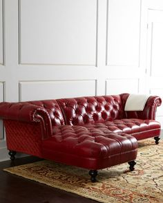 Beautiful classic meets contemporay style - red leather - Sperrazza Sectional Sofa