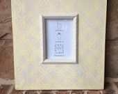 Large Distressed Pale Yellow and Gray Geometric Frame