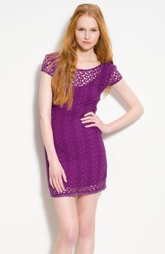 Short Sleeve Vine-Floral Lace Dress in HOT RASPBERRY