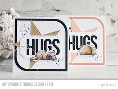 Stamps: Distressed Patterns, I Knead You, Lots of Hugs | Die-namics: I Knead You, Mod Square STAX, Stitched Star STAX, Twice the Hugs — Inge Groot #mftstamps