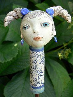 Gartenfiguren - Gartenkeramik Zopflieschen »Ida« - ein Designerstück von Brigitte_Peglow bei DaWanda