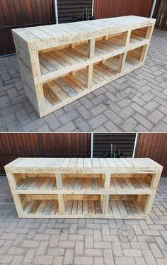 Pallet Furniture Projects Pallet media stand - Try not to misuse your hard earne. Pallet Furniture Designs, Wooden Pallet Projects, Wooden Pallet Furniture, Wooden Pallets, Wooden Diy, Furniture Projects, Rustic Furniture, Diy Furniture, Pallet Wood