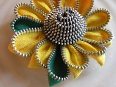 Yellow Sunflower Up Cycled Flower Zipper Brooch or Hair by Rezipit, $20.00