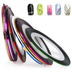 PRODUCT DETAILS : Content: 10Pcs Nail Tape Stripe StickerSET of 10 Nail Tape Stripe Decoration Sticker HologramSelf-StickingCOLOR: Silver, Gold, Laser gold, Green, Blue, Red, Purple, Rose, White, Laser purple SPECIAL [ ]