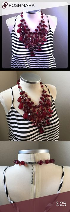 🆕 listing! Layers and layers of RUBY RED! ❤️ My mom gave me this necklace, because I was (and am) obsessed with it. Look how nicely it lies on the relatively small chest of my dress form. I do NOT have a relatively small chest. My chest ruins blouses and swallows most pendants. So on me, it lies not so nicely. It's gorgeous...for someone else. 😩😩😩 Jewelry Necklaces