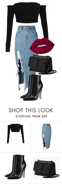 """Untitled #122"" by sdr-kt on Polyvore featuring storets, Christian Louboutin, Yves Saint Laurent and Lime Crime"