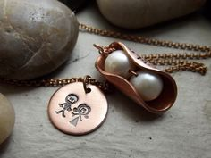 Two Peas  for bride or mother pendant by patsdesign on Etsy, $30.00