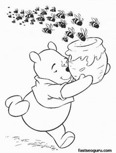 free printable coloring pages for kids | activities for kids ... - Pooh Bear Coloring Pages Birthday