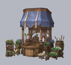 ArtStation - Flower shop concept Art, Heewon Jang The truth is it might prosper to Concept Art Landscape, Fantasy Landscape, Fantasy Art, Landscape Art, Bg Design, Prop Design, Environment Concept Art, Environment Design, Art Steampunk