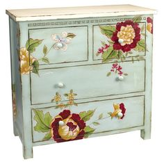 Stow linens and craft supplies in this 4-drawer wood chest, featuring a weathered blue finish and multicolor floral motif.   Product: