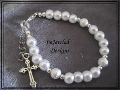 "Baby Bracelet bangle ""A grade"" Glass Pearls and Charm Cross.  Custom made service provided."