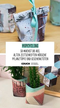 How to fold plant pots and gift bags-So geht's Pflanztöpfe und Geschenktüten falten Packaging sustainably and nicely can be easy! We'll show you how to fold plant pots and gift packaging from your old COUCH booklets. Upcycled Crafts, Diy And Crafts, Crafts For Kids, Stick Crafts, Bag Packaging, Pretty Packaging, Fleurs Diy, Navidad Diy, Diy Projects For Beginners