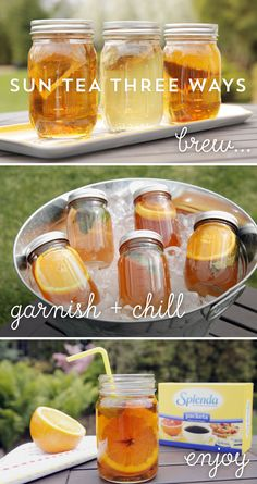 Embrace drinks with less added sugar when you host a party and swap sugary soda for summertime sun-tea in mason jars. Use at least three different iced tea recipes with different types of teas and fruits. Let the sun slow brew each jar the day before your party, then pre-sweeten each iced tea with SPLENDA® No Calorie Sweetener and chill. It's easy to create a colorful and tasty collection of refreshing individual iced teas for a party or picnic.