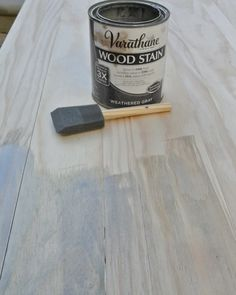 weathered gray stain. love this for her coffee table top. now sold under Rustoleum brand.