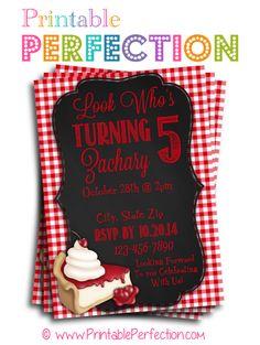 Birthday Party Invitation - Cheesecake and Cherries