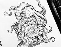 Octopus Mandala tattoo commission