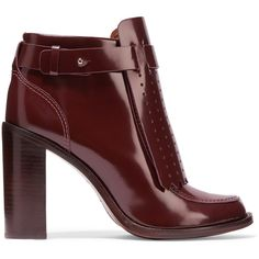 Tory Burch Hyde paneled glossed-leather ankle boots ($230) ❤ liked on Polyvore featuring shoes, boots, ankle booties, burgundy, tory burch boots, strappy ankle boots, high heel booties, studded booties and leather booties