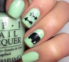 Mint Elephant & Arrow Nails