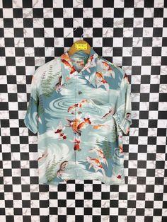 a958bf31 Vintage 80s HAWAIIAN Sun Surf Toyo Rayon Shirt Goldfish Asian Pattern Japan  Sukajan Style Beach Wear