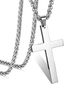 bf21e72914ea9d FIBO STEEL Stainless Steel Cross Pendant Wheat Chain Necklace for Men Women  24 Inches Men Necklace