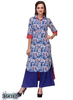 Fantastic Blue and White Coloured Rayon Kurti