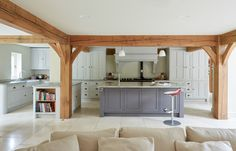 Berkshire Barn - Border Oak - oak framed houses, oak framed garages and structures. Open Plan Kitchen, Kitchen Layout, Country Kitchen, Kitchen Design, My Living Room, Kitchen Living, Living Area, Border Oak, Oak Framed Buildings