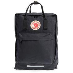 Women's Fjallraven 'Maxi Kanken' Water Resistant Backpack (£98) ❤ liked on Polyvore featuring bags, backpacks, black, expandable bag, backpack bags, shoulder strap bags, water resistant bag and knapsack bag
