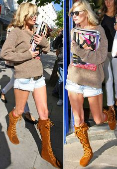 I love the easy, casual shorts and sweater combo. The boots! The only reason they work is cuz they aren't Uggs! Love Minnetonkas.