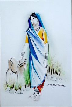 Trendy Abstract Landscape Drawing Oil On Canvas Cool Art Drawings, Pencil Art Drawings, Art Drawings Sketches, Easy Drawings, Indian Art Paintings, Modern Art Paintings, Indian Folk Art, Indian Artist, Composition Painting