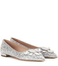 Miu Miu - Embellished glitter ballerinas - mytheresa.com